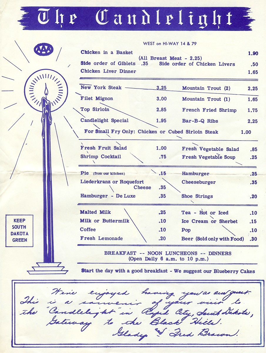 The Candlelight souvenir menu from the mid-1950s.  Look at those food prices!