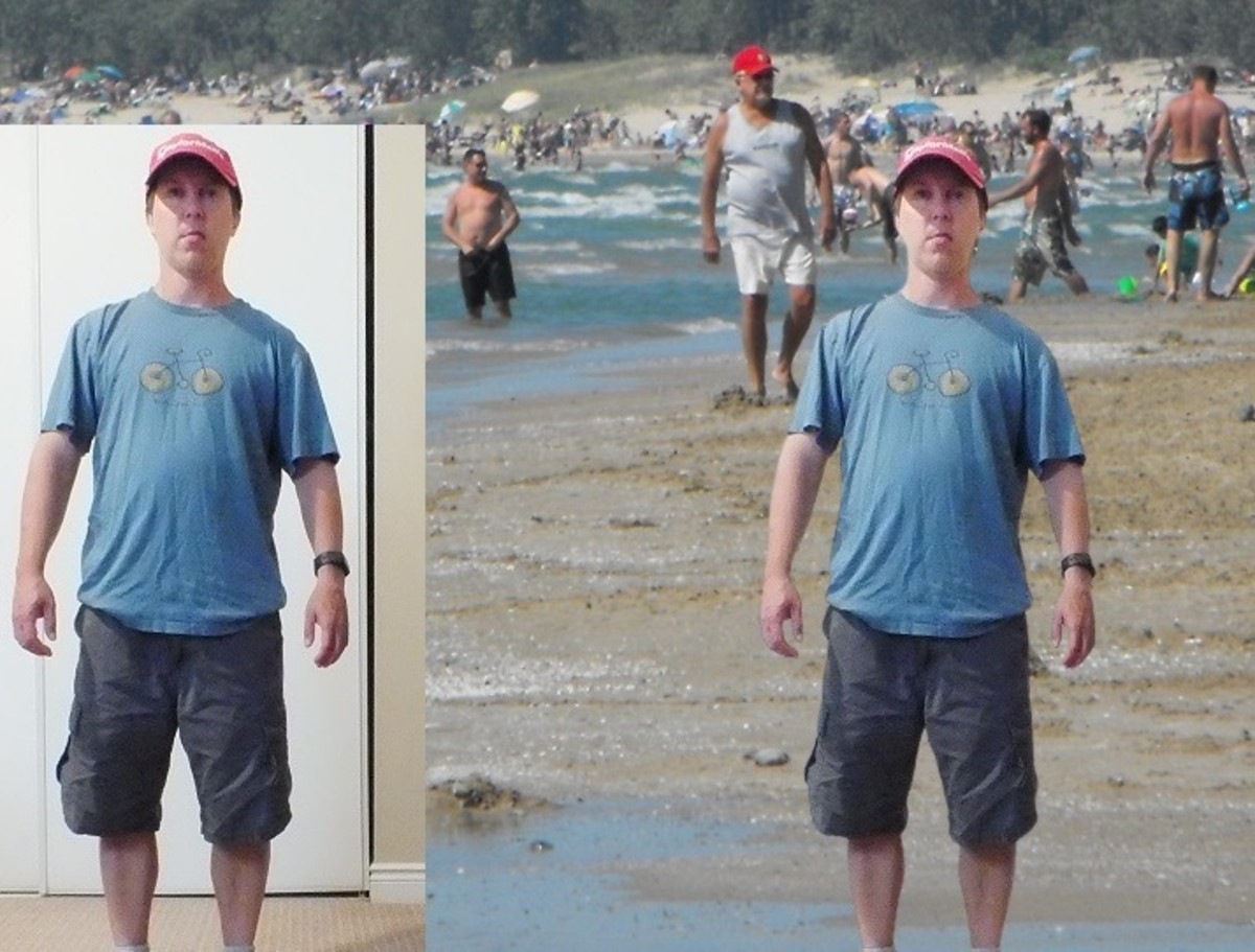 Removed the background and pasted myself into a beach photo.