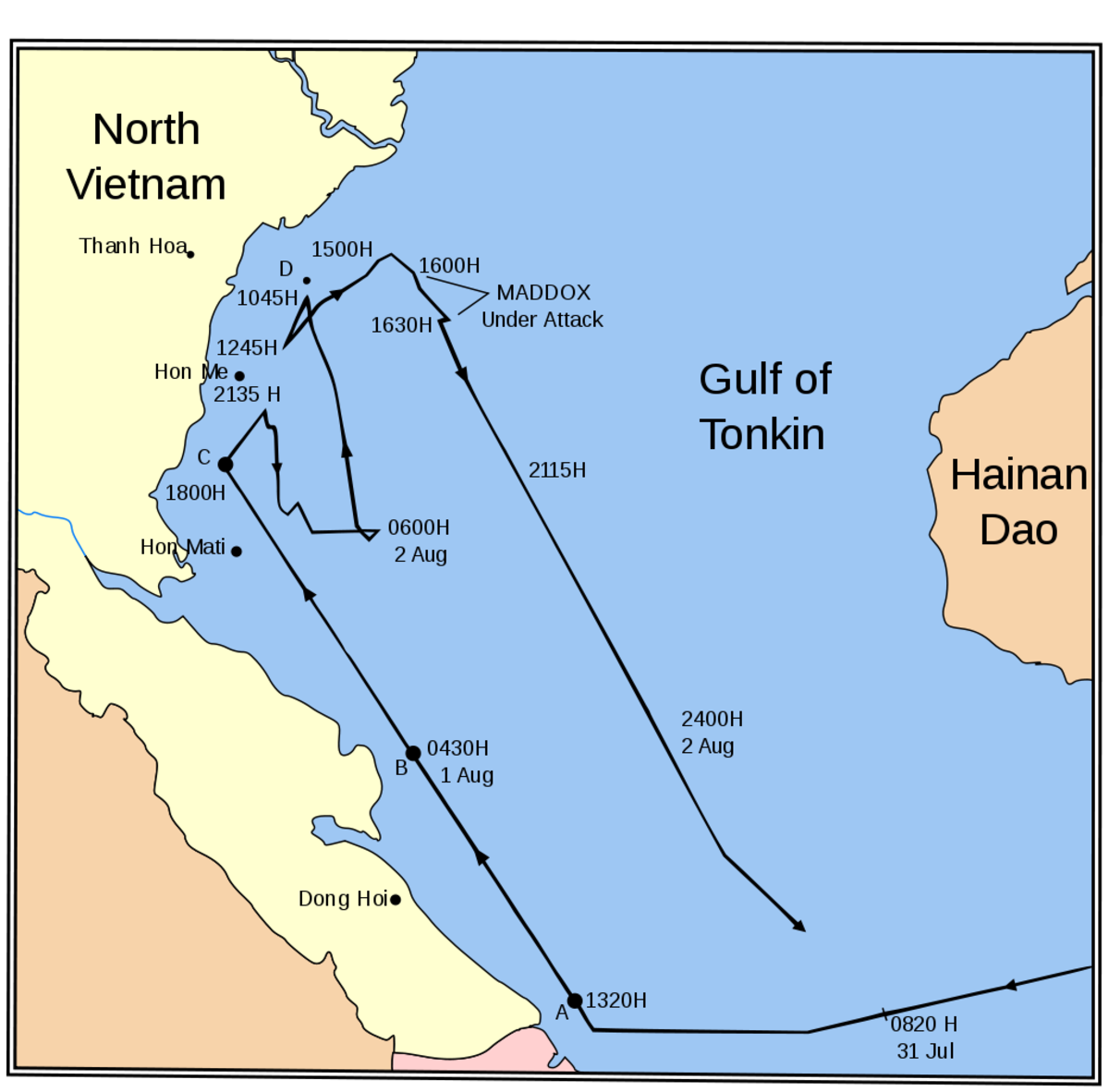February 1,1964, American and South Vietnamese forces launched Operation Plan 34A prompting the Gulf of Tonkin incident that led to the Gulf of Tonkin Resolution.