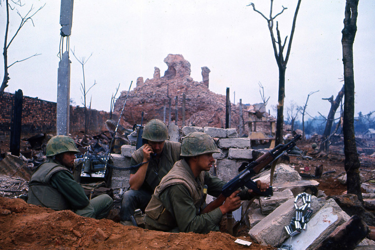 Marine unit inside the Citadel Hue during Tet Offensive 1968. Some of the heaviest fighting would take place in the Citadel as the NVA fought to the death for the ancient city.