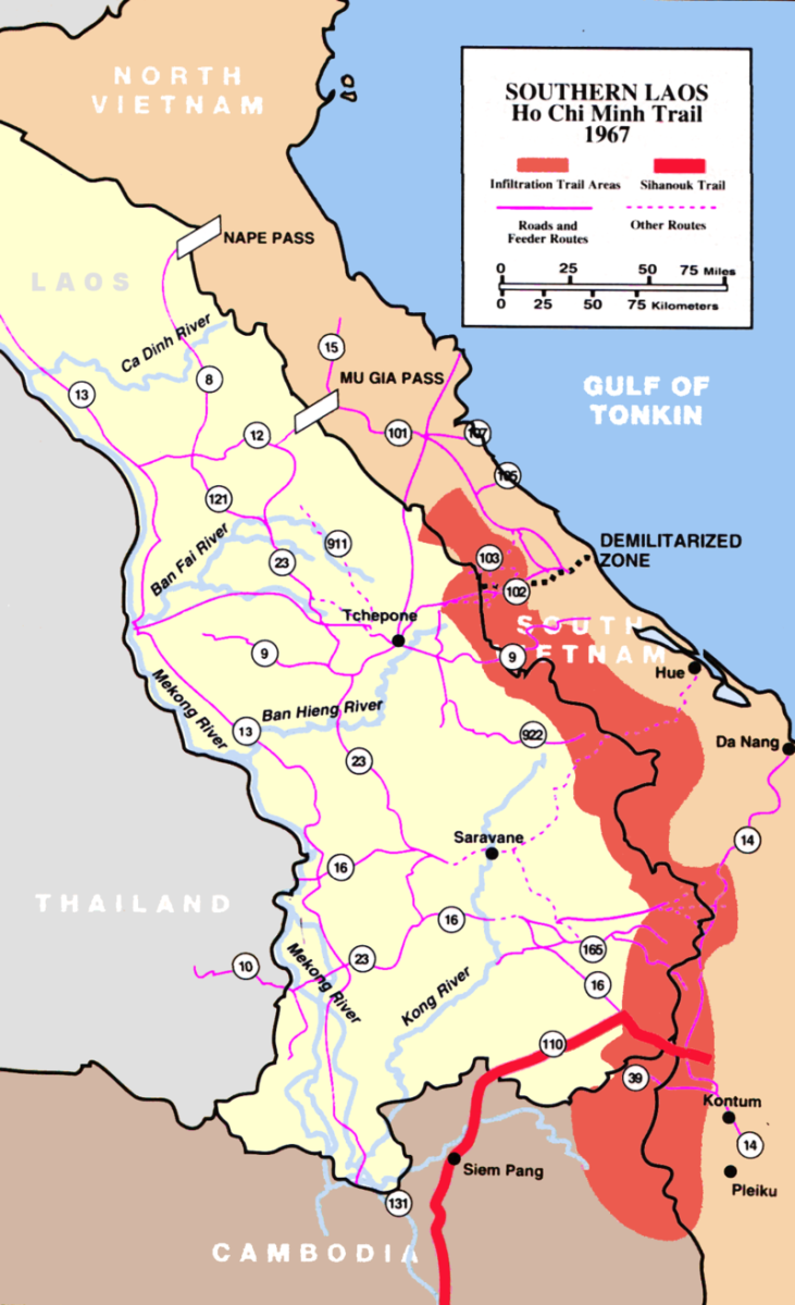 The Ho Chi Minh trail, known as the Truong Son Road by the North Vietnamese, cuts through Laos. This would develop into a complex logistical system which would allow the North Vietnamese to maintain the war effort despite American air power.