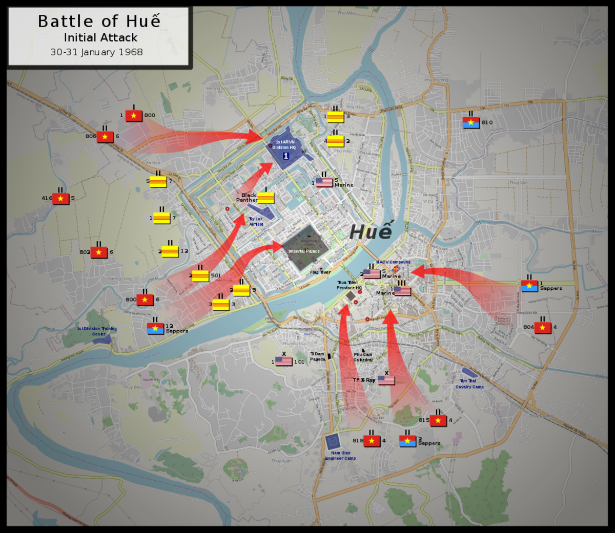 Over 8,000 North Vietnamese troops easily take control of Hue in the initial phase of the battle during the Tet Offensive.