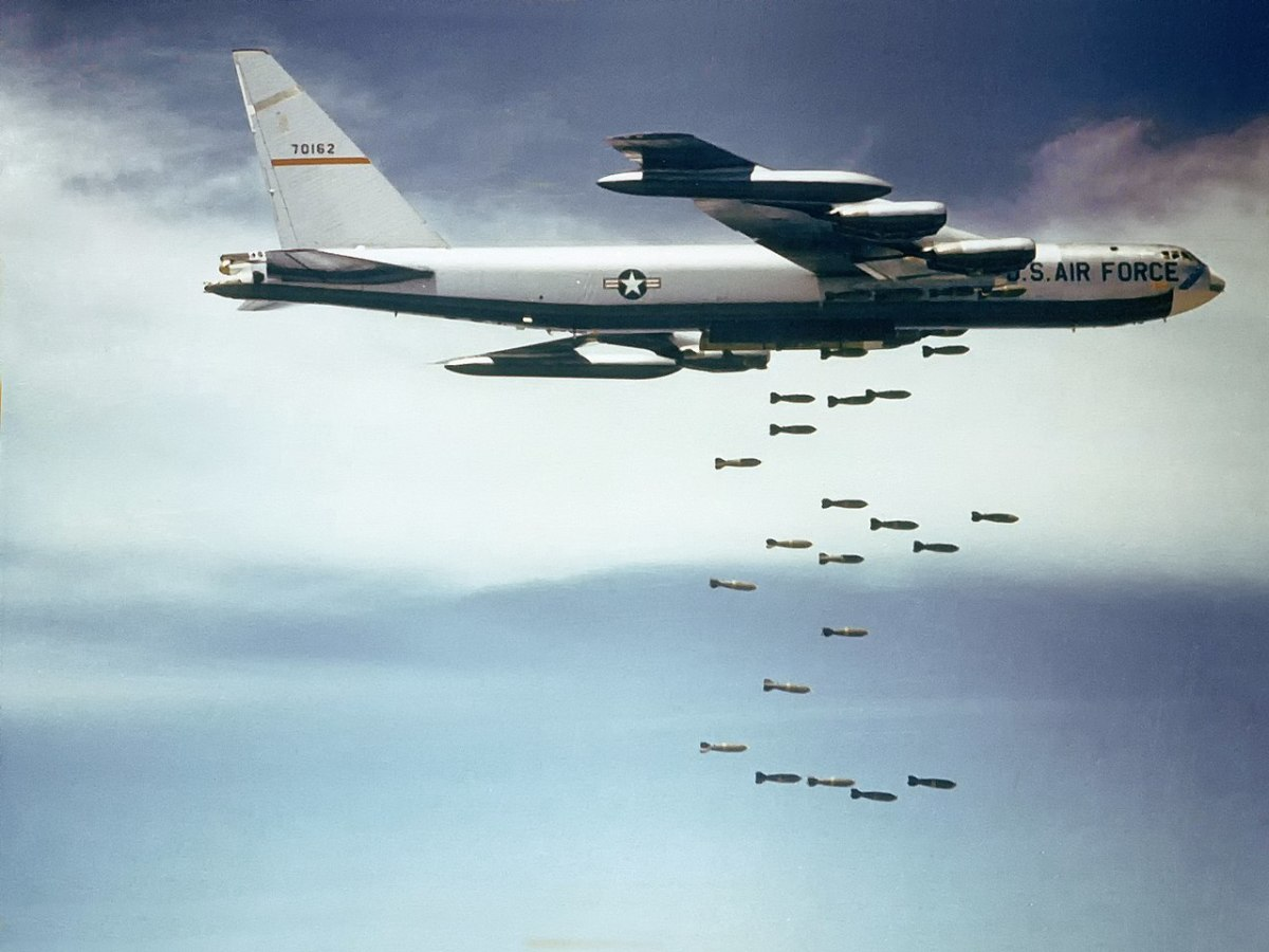 American B-52F dropping bombs on Vietnam. In the battle for South Vietnam the United States would lose over 10,000 aircraft.