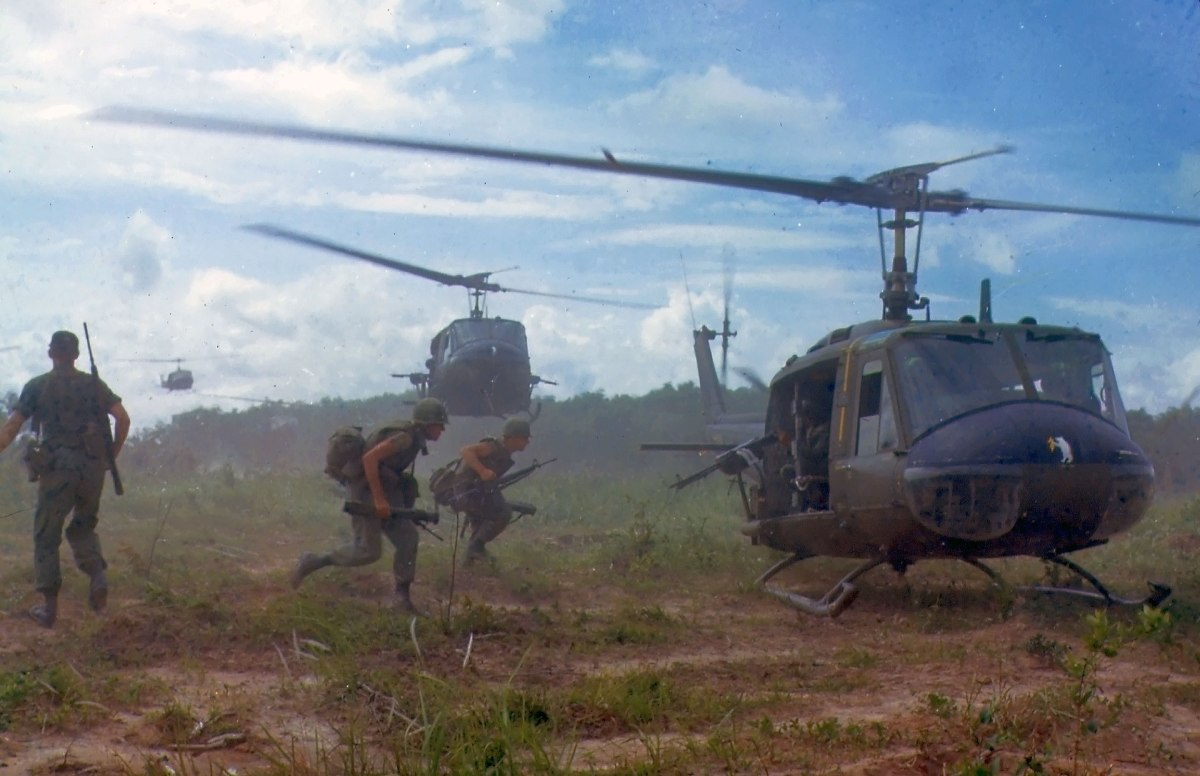 American helicopters airlift members of a U.S. infantry regiment in 1966. The war in Vietnam would be the first war where helicopters would become the main source of transportation for combat troops.
