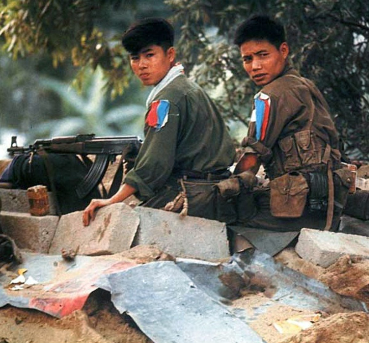 Ho Chi Minh put some of his very best troops in Hue. They would all pin to their left sleeve torn strips of red, blue, and white cloth to represent the People's Liberation Front. They would not back down from American attacks most would die in Hue.
