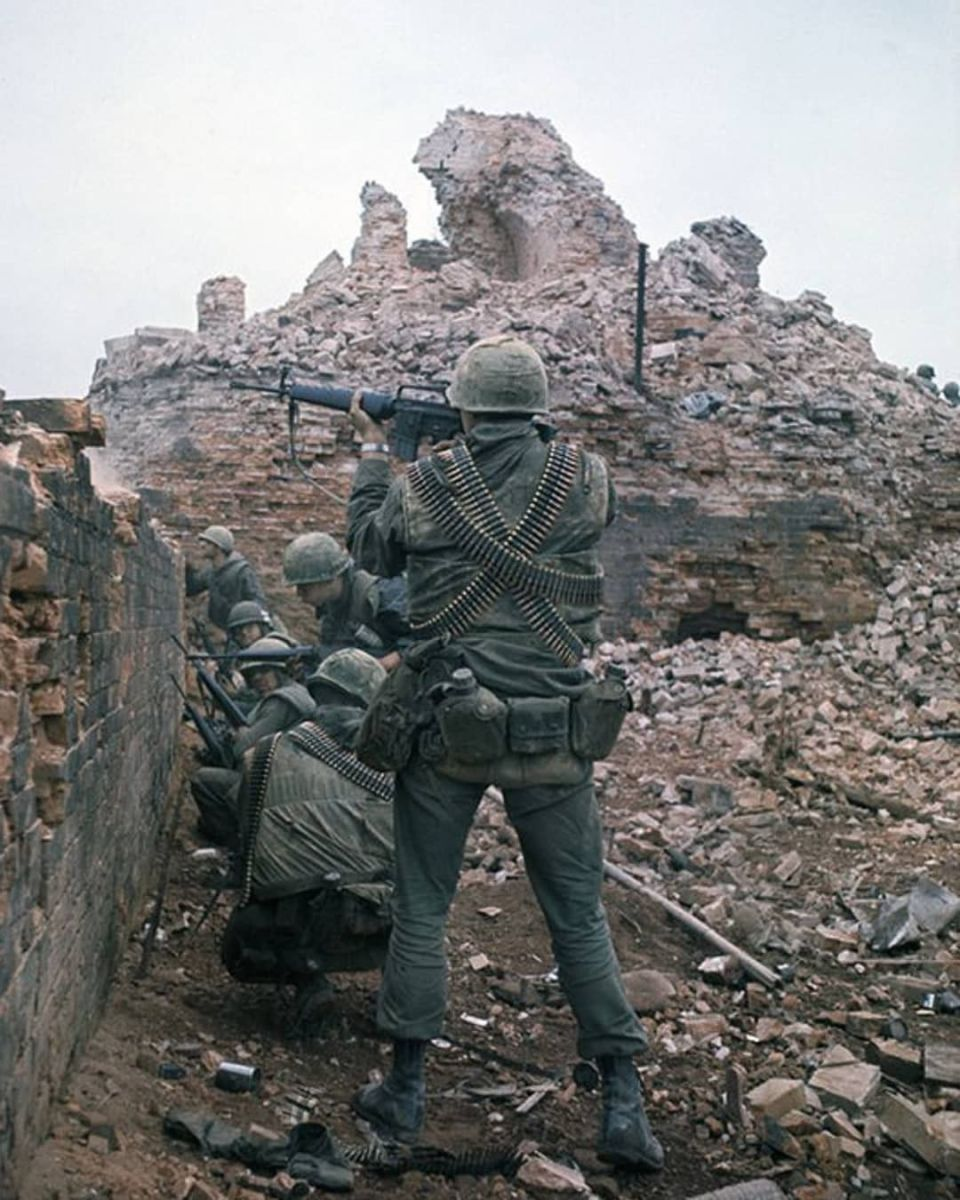 United States marines battling for control of the citadel during the battle for Hue. Two and a half million American soldiers served in Vietnam from 1956-1975.
