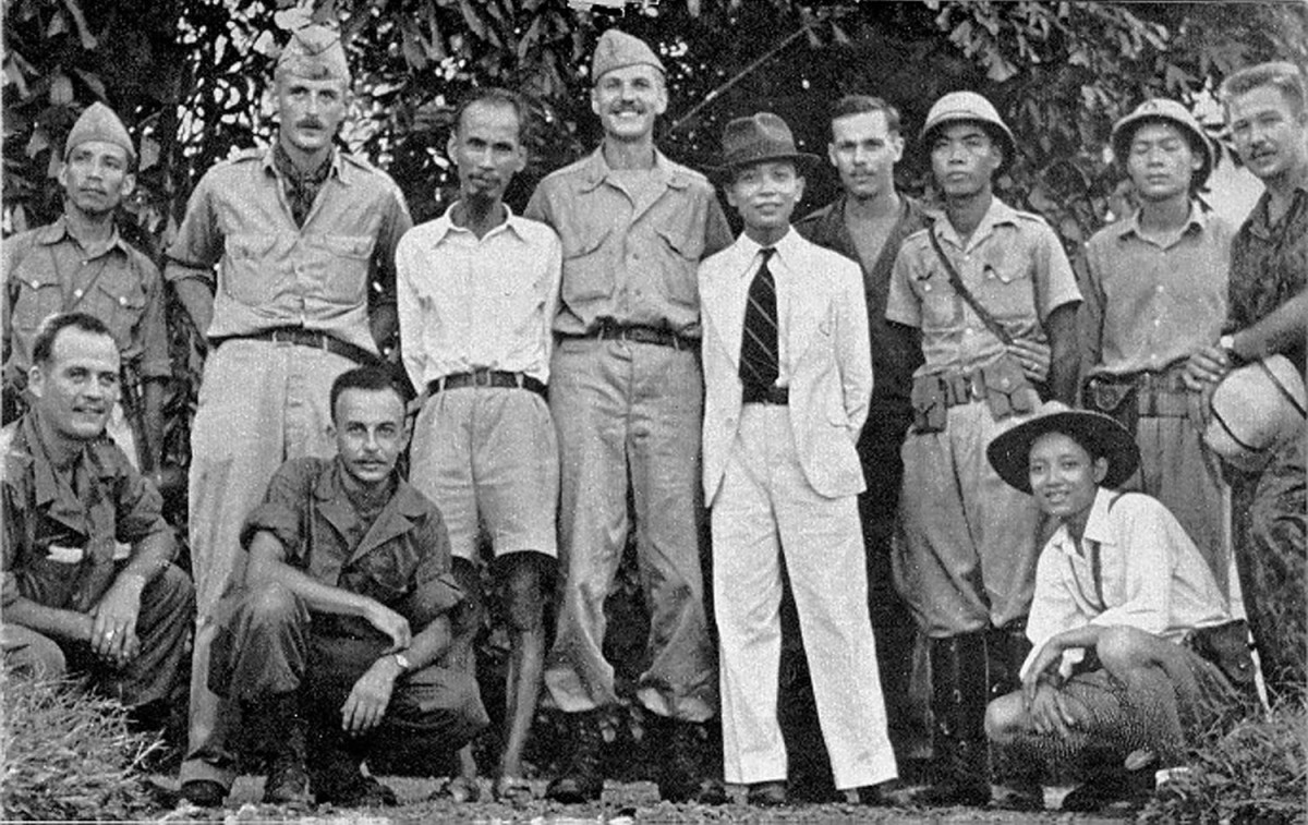 Ho Chi Minh and American OSS agents 1945. During the Second World War Ho worked with the Americans to battle the Japanese who occupied Vietnam during the war.