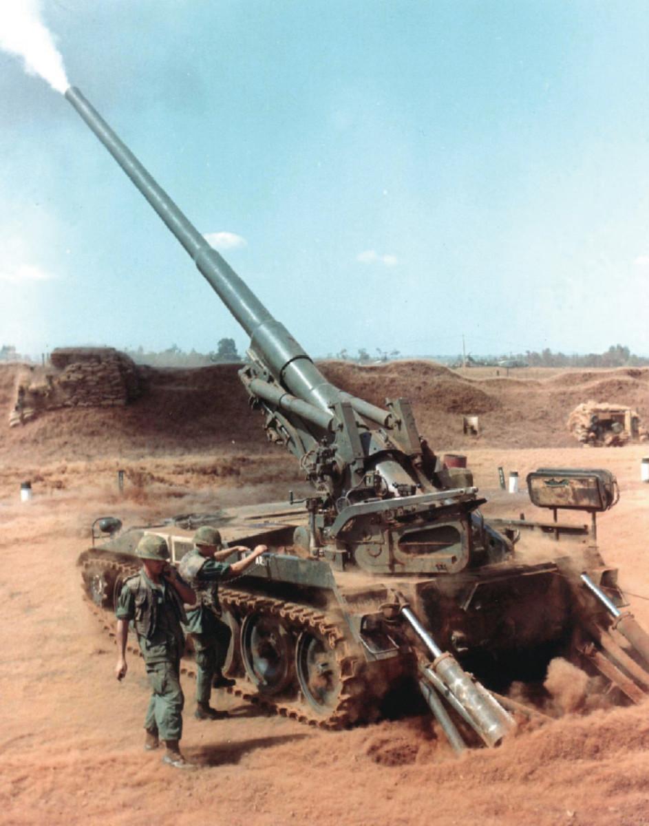 A 175mm self-propelled gun at a firebase in Vietnam it had a range of twenty miles.