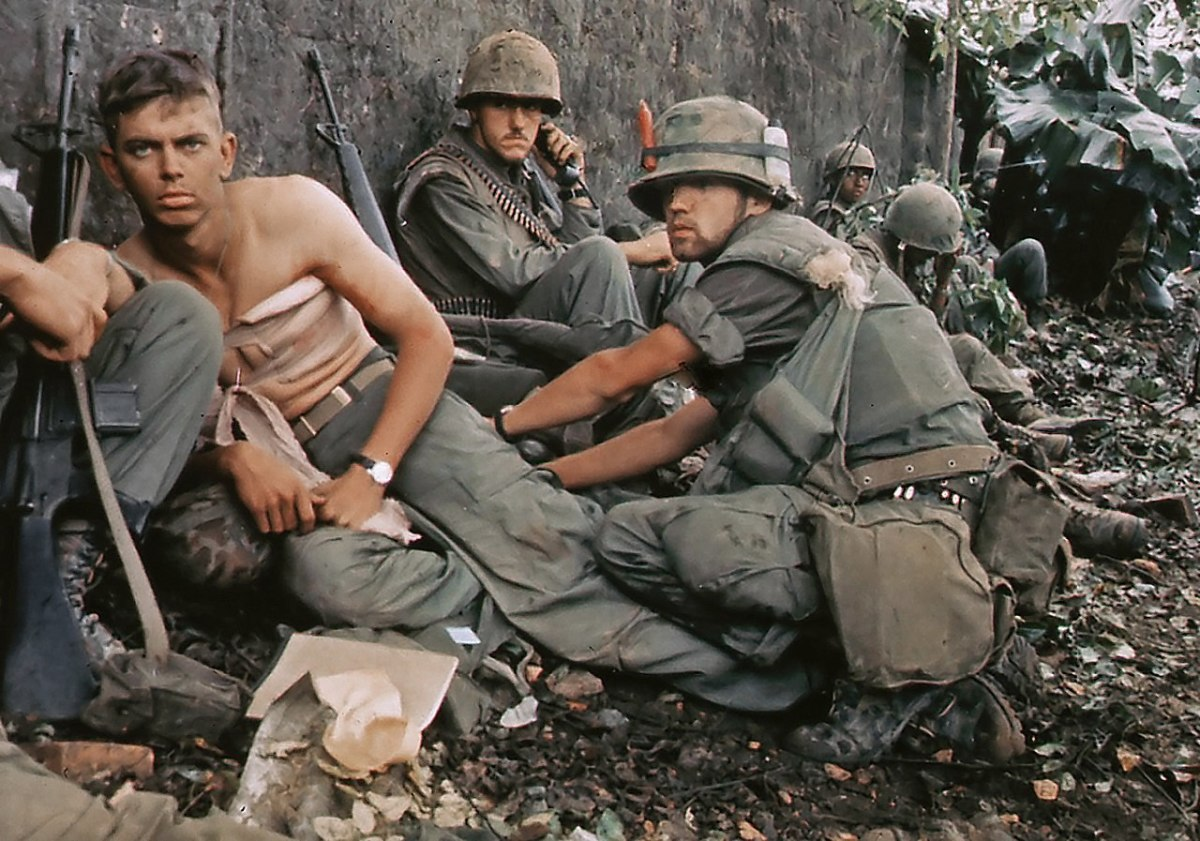 Wounded American troops in Hue 1968. 58,214 American soldiers died and over 150,000 were wounded in Vietnam between 1956 and 1975.