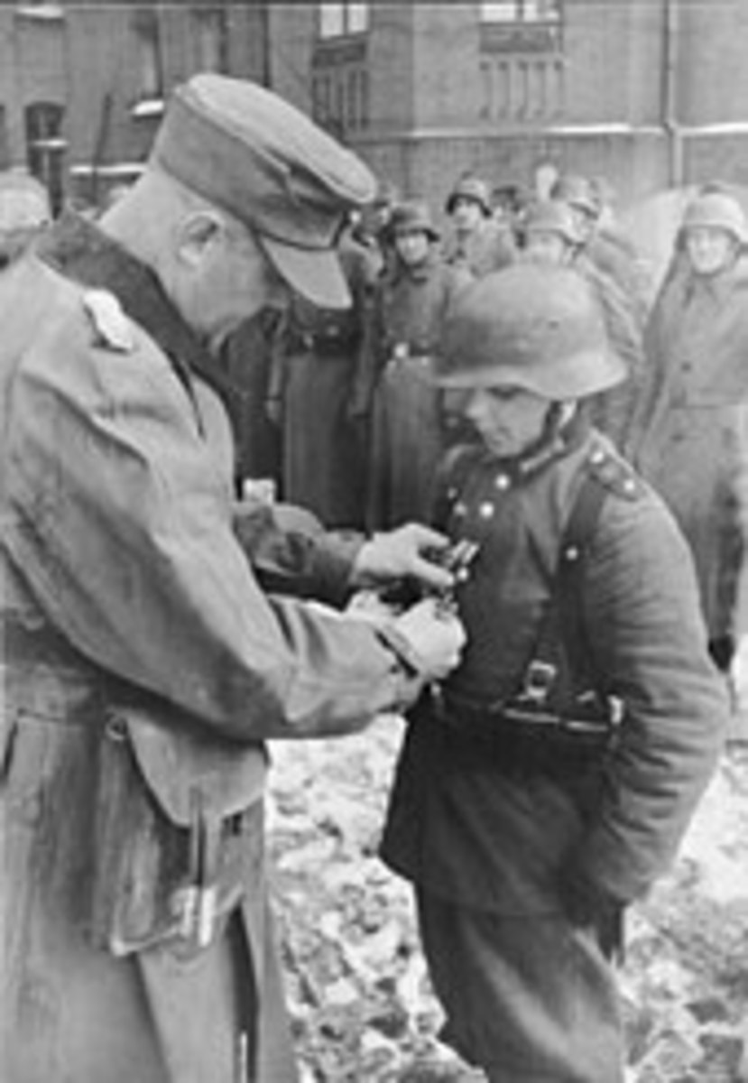 16-year-old Willi Hübner being awarded the Iron Cross in March 1945