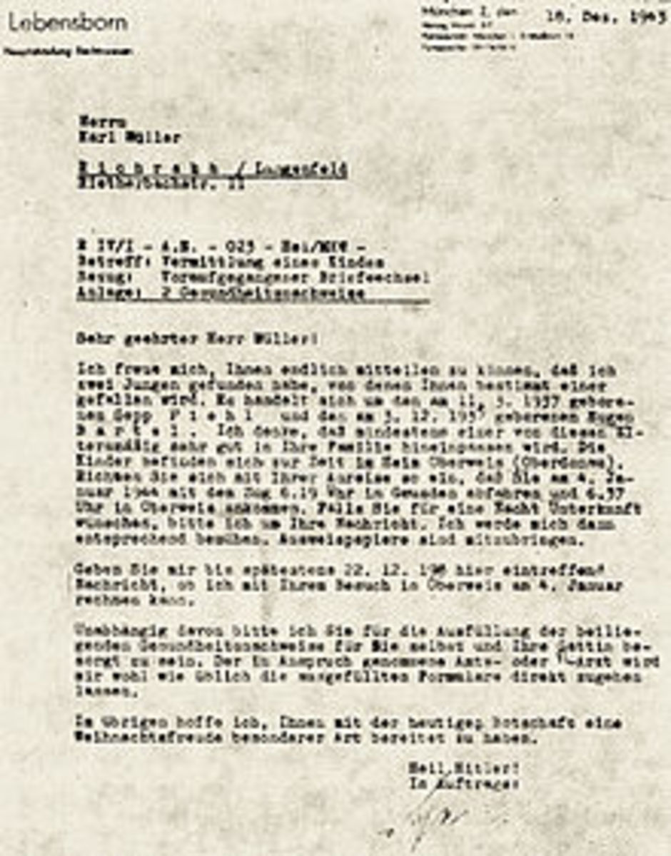 Letter from Lebensborn office to Reichsdeutsche family of Herr Müller in Germany informing that two perfect boys have been found for them to choose one they like. The boys' names have already been Germanized, 18 December 1943 Foreign children abducte