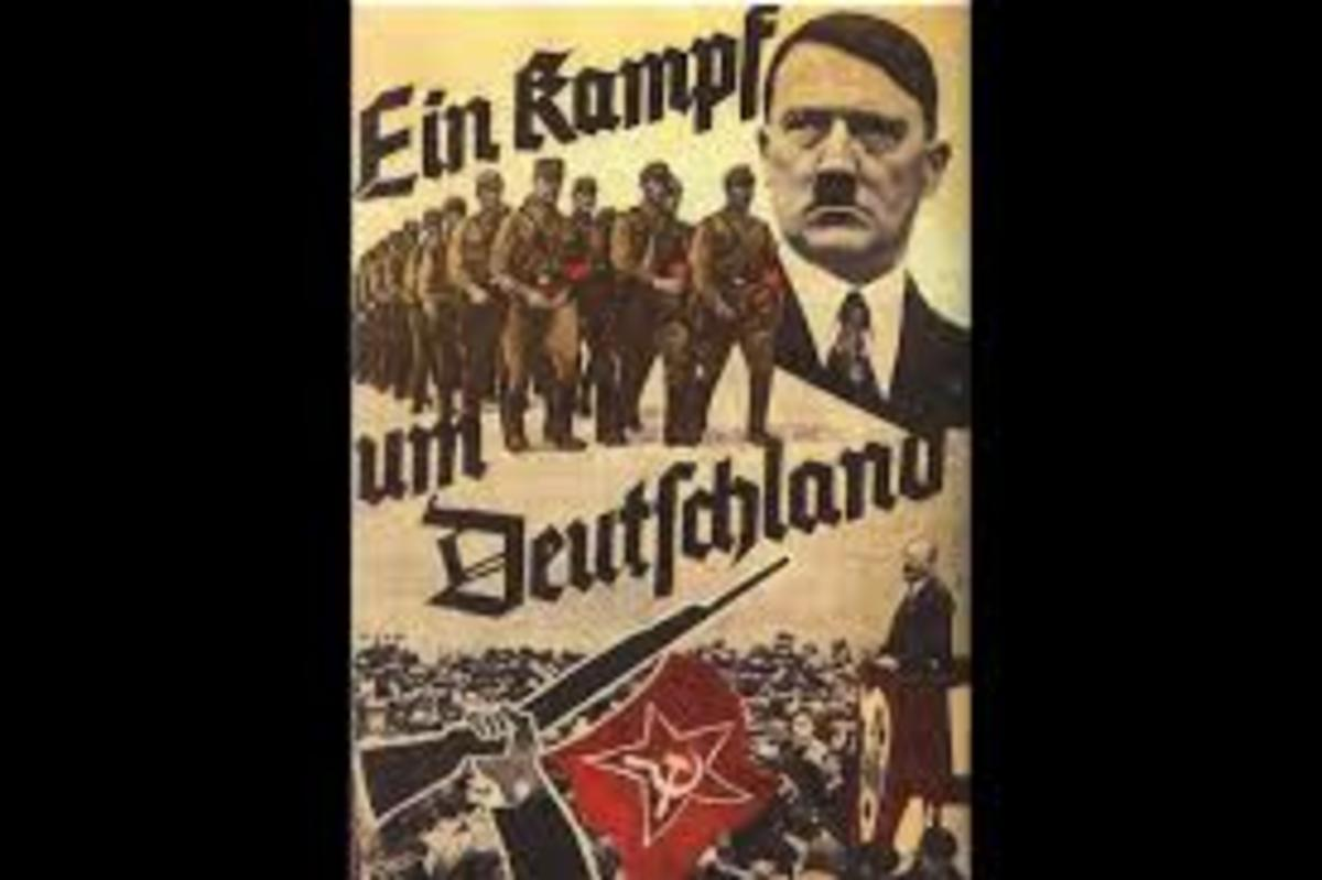"""A Nazi Party Poster reading """"The Struggle for Germany"""". Posters like this one were key in creating the Hitler myth, portraying Hitler as a strong and patriotic leader who would save Germany."""
