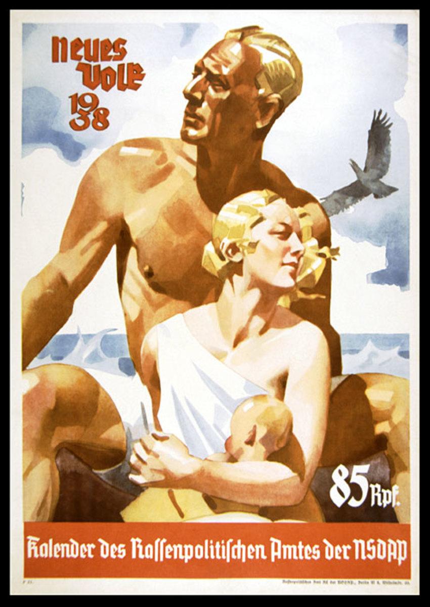 The pure Aryan family on a 1938 calendar.