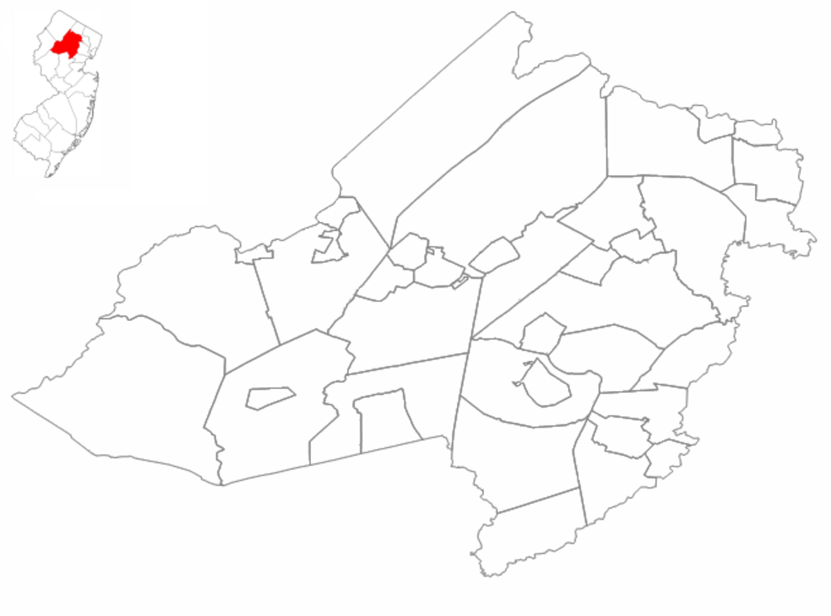 Morris County, New Jersey divided by municipality. In the upper left hand corner, Morris County's position in New Jersey is highlighted in red.