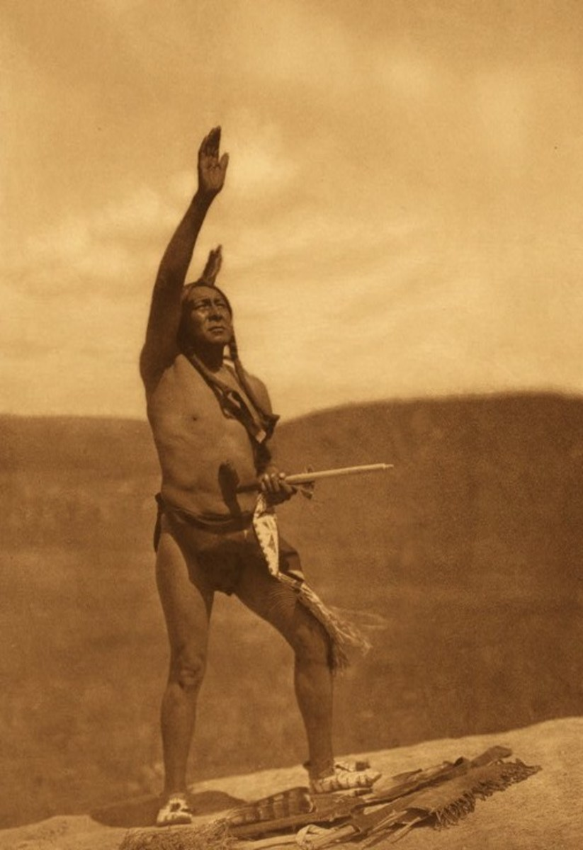 The forgotten people, The Red Men, in contemporary American development and civilization. The picture of Invocation by the Sioux taken in 1907