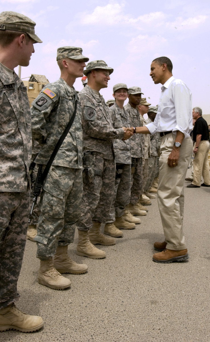 President Obama, Commander in Chief, shaking troops hand and Talking to the Troops