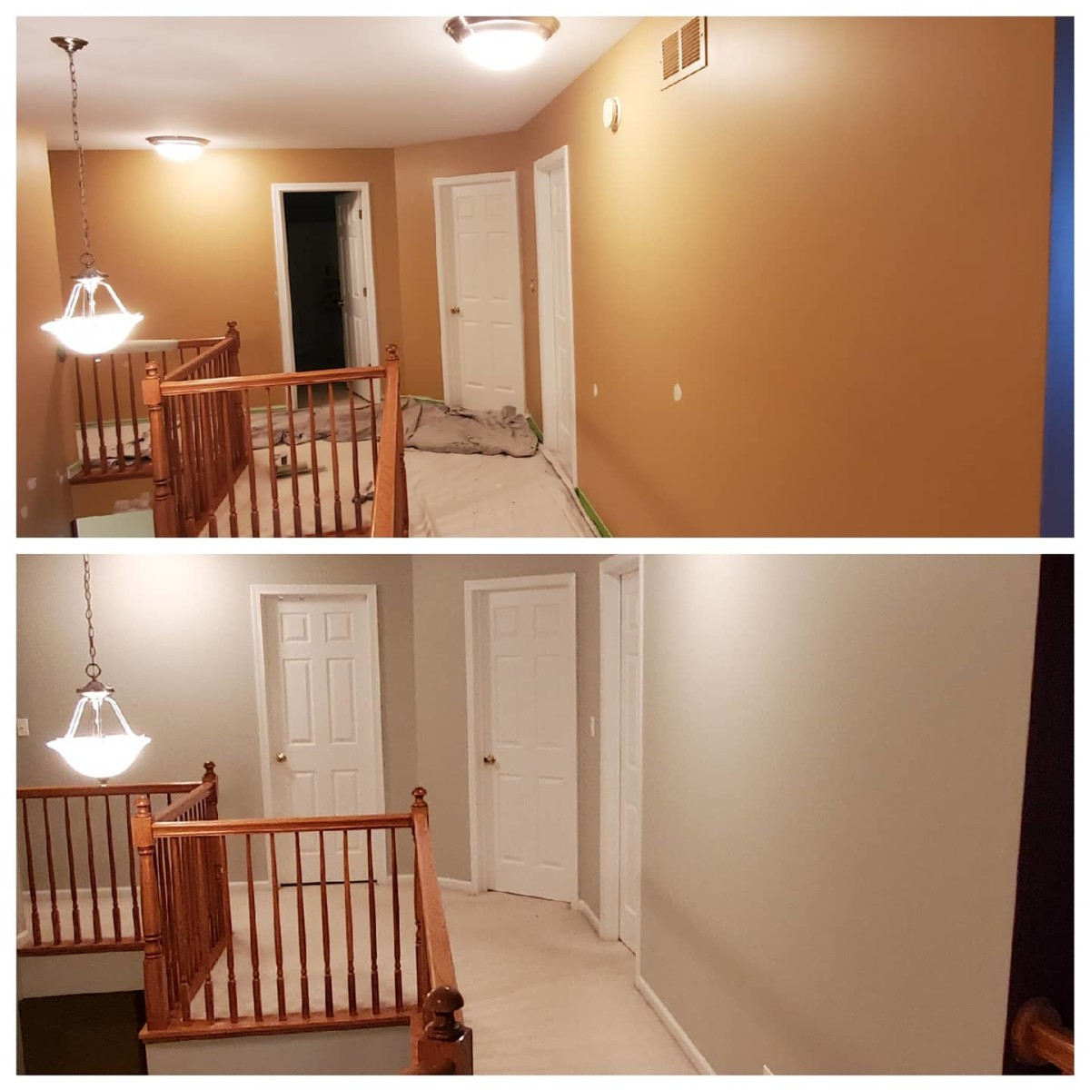 A hallway I primed white and painted with the color Repose Gray.