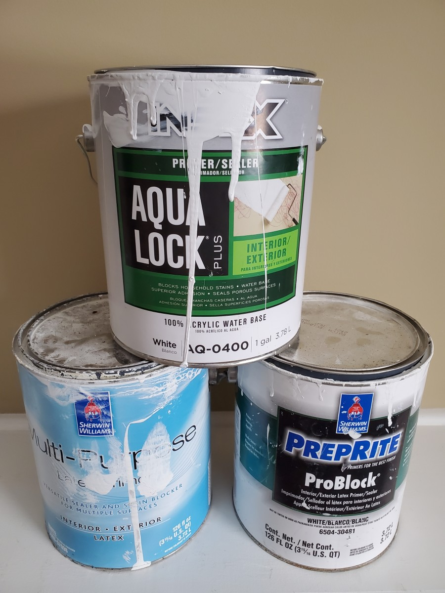 The best primer I use for painting light colors over dark colors.