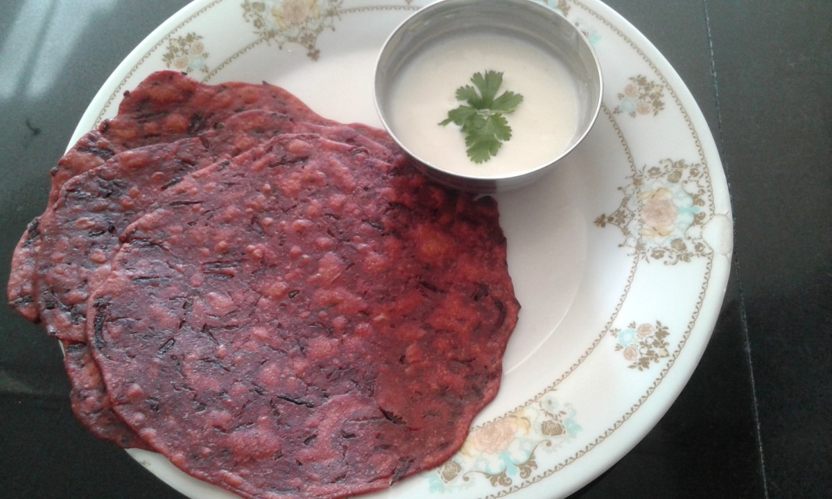 Delicious and healthy beetroot paratha served with curd