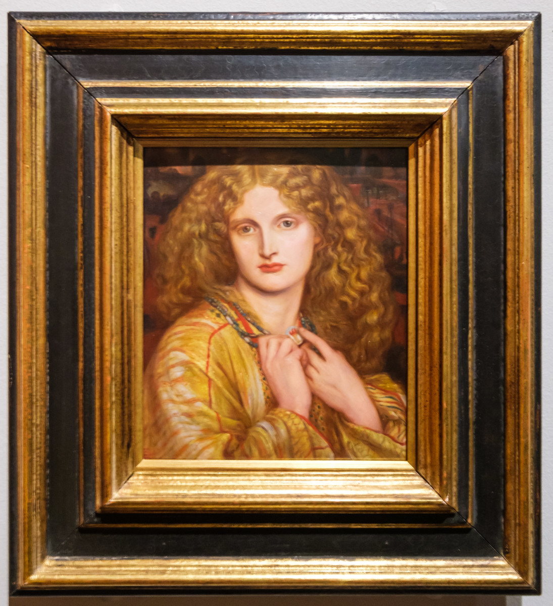 A copy of Rossetti's 'Helen of Troy' modeled by Annie Miller and painted by Dante Gabriel Rossetti, Resides at London's National Portrait Gallery.