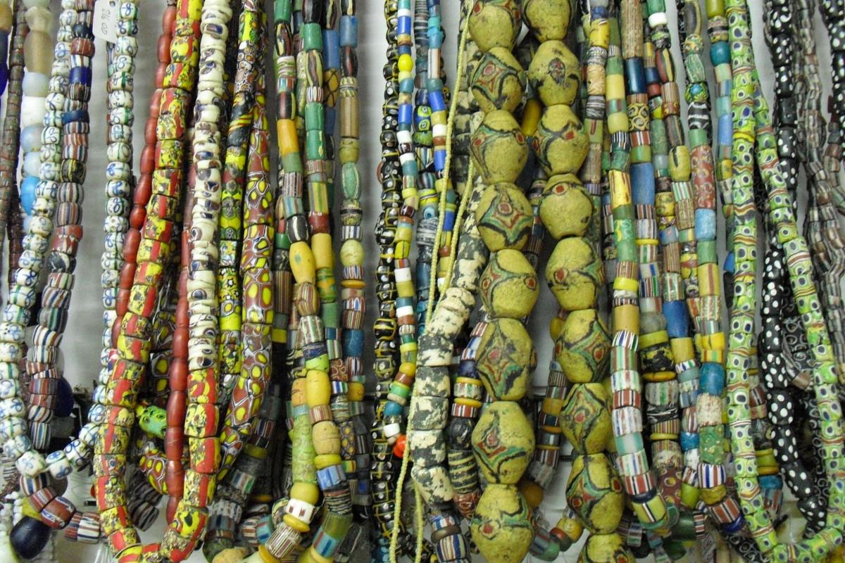 Glass beads made in Ghana.
