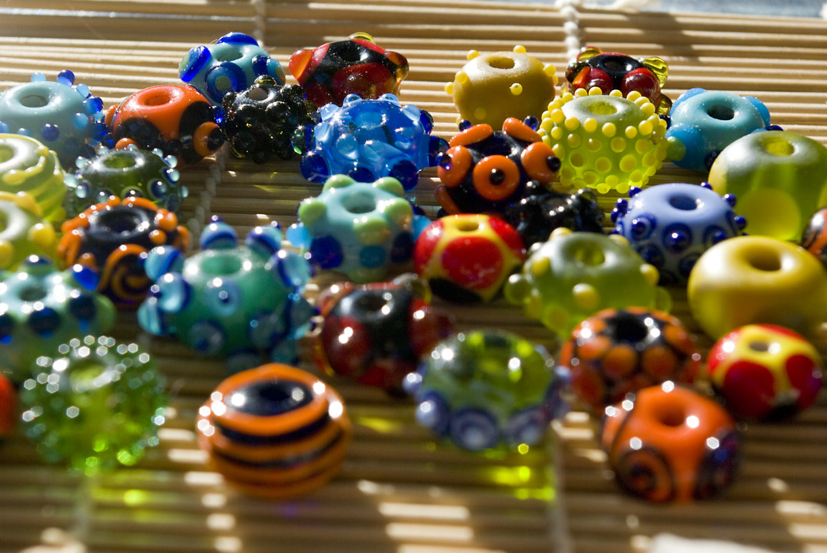 Some examples of lampwork beads.