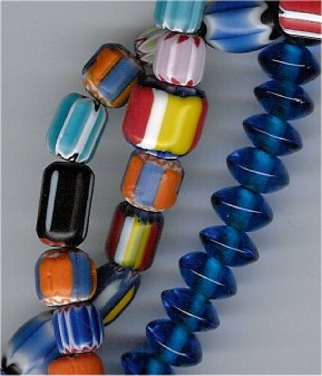 Glass beads come in a wide range of styles, shapes and colours.