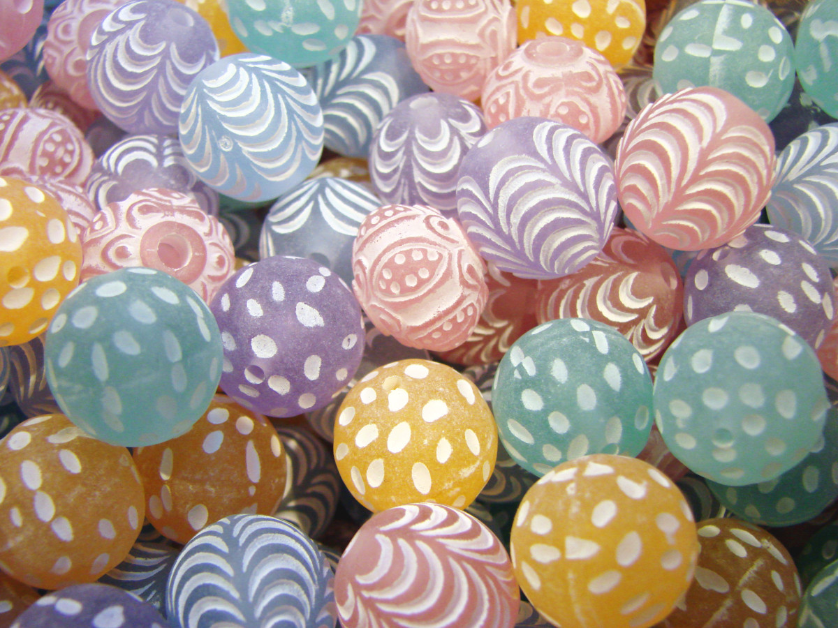 Pretty decorated pastel glass beads.
