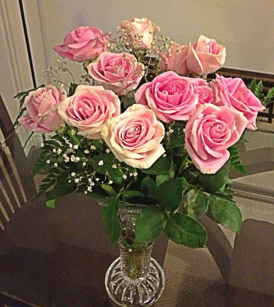 Pink Roses in Crystal Vase  - All Rights Reserved - Do Not Distribute -