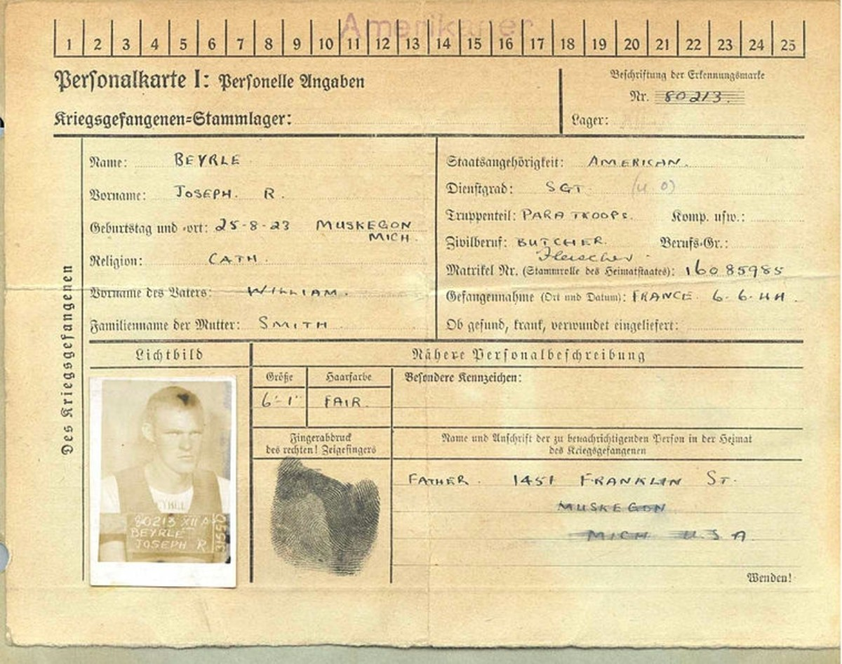WW2: POW ID card for Joe Beyrle (Stalag XII-A, July 1944)