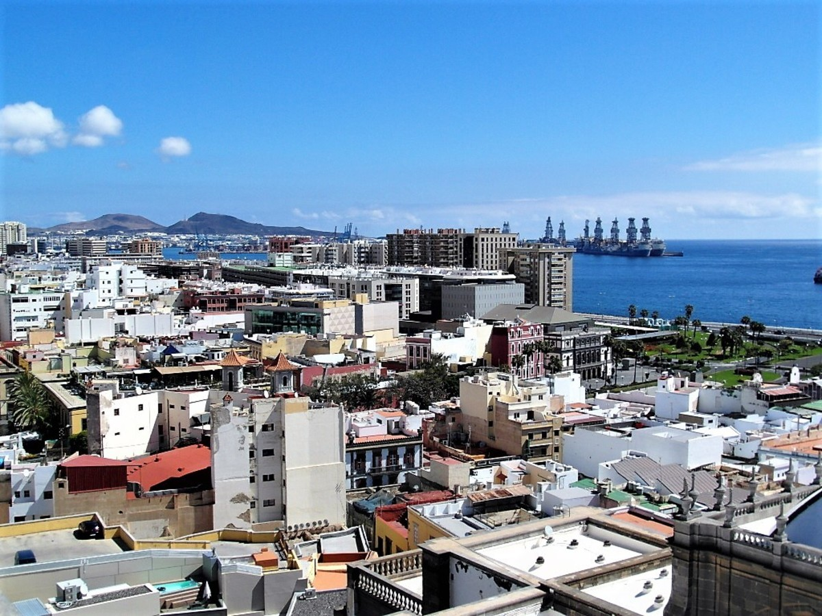 View from the cathedral towards the port in Las Palmas.
