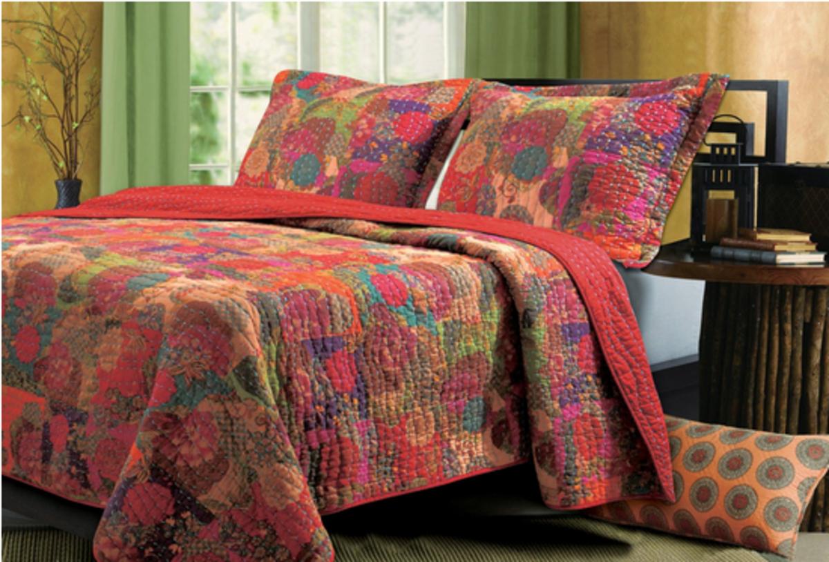 Jewel Tone Cottage Quilt Set