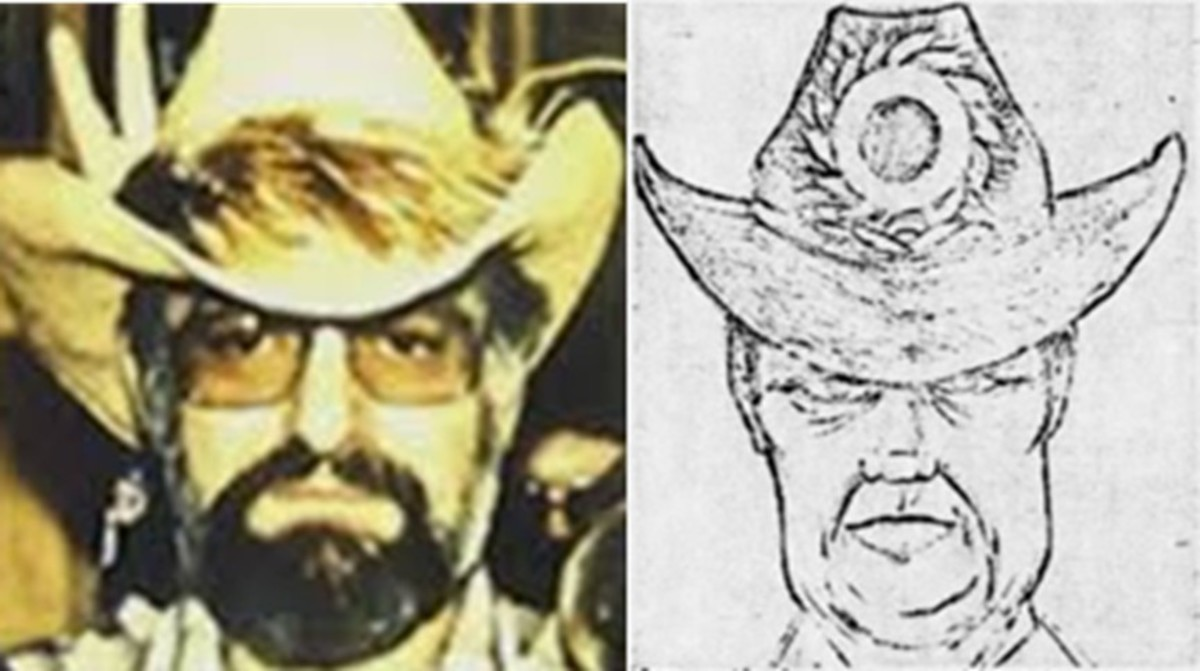 Royal Russell Long next to the composite of suspect in the murder of Valentine Sally. Photo courtesy of Missing Leads.