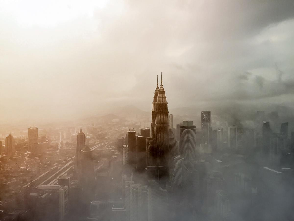 The fulignous air in many major cities across the globe is the direct result of human pollution.