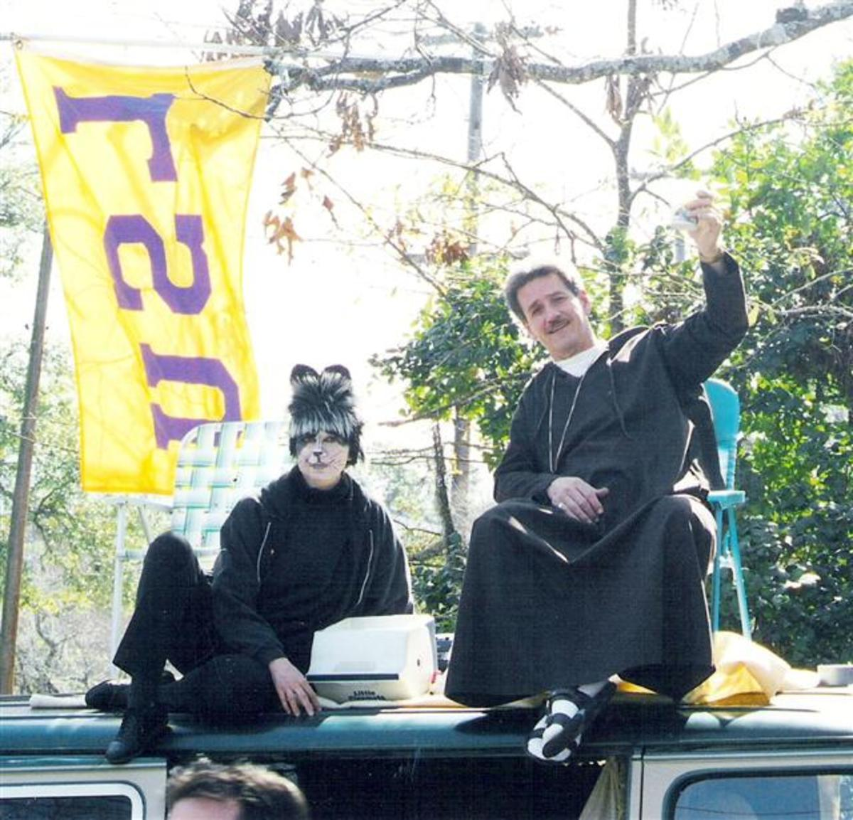 St. Francis and a cat enjoying a North Shore parade.
