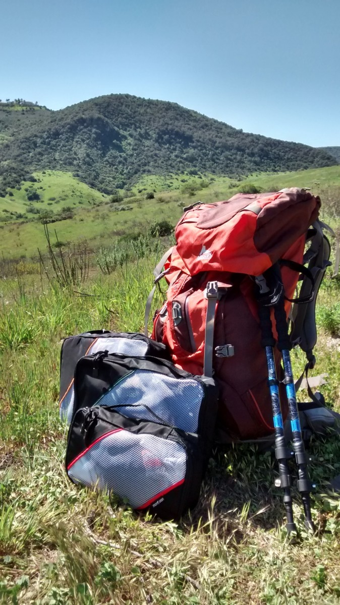 Outdoor Backpacking Using Small and Medium Packing Cubes
