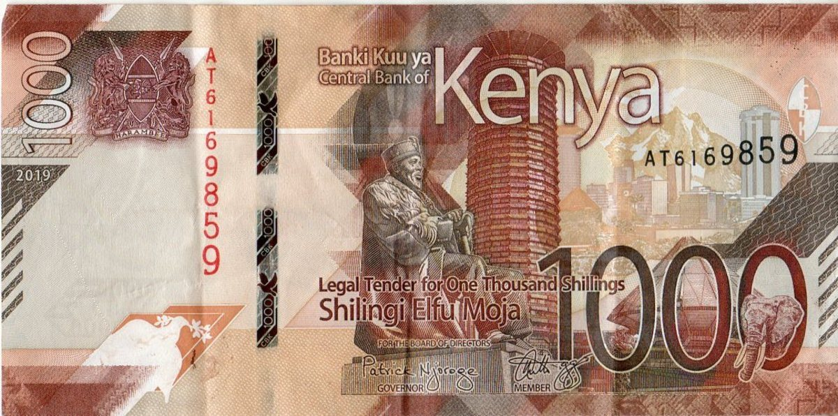 A-One Thousand Shillings Note Used in Kenya
