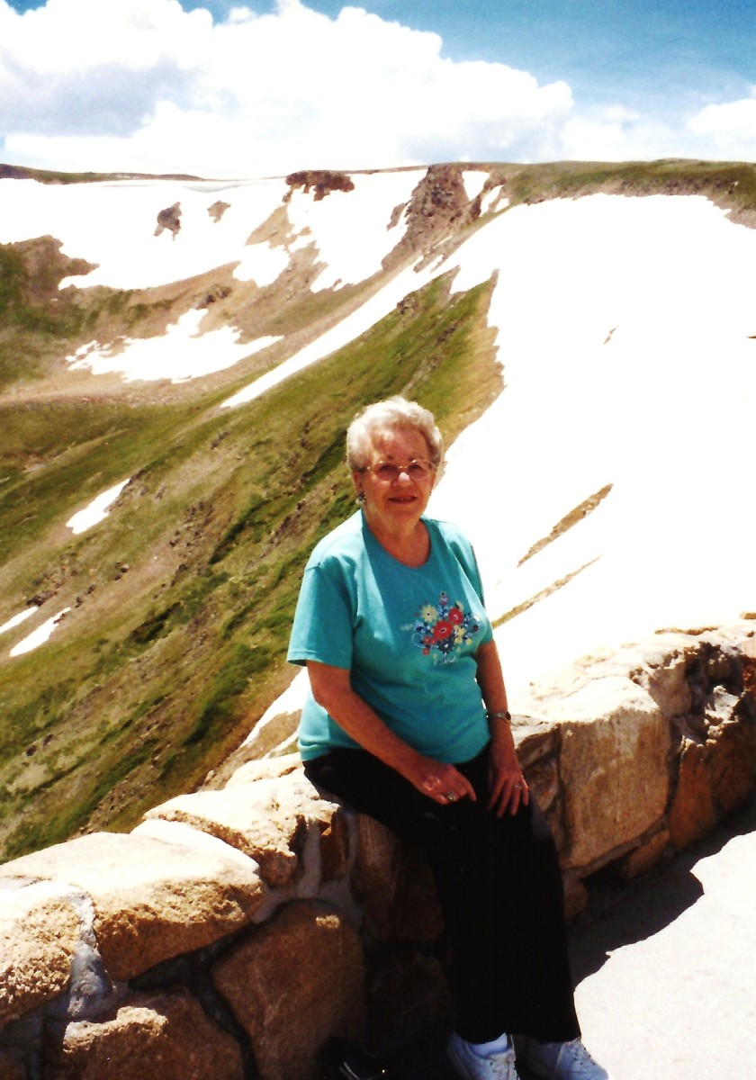 My mother at one of the parking areas along Trail Ridge Road