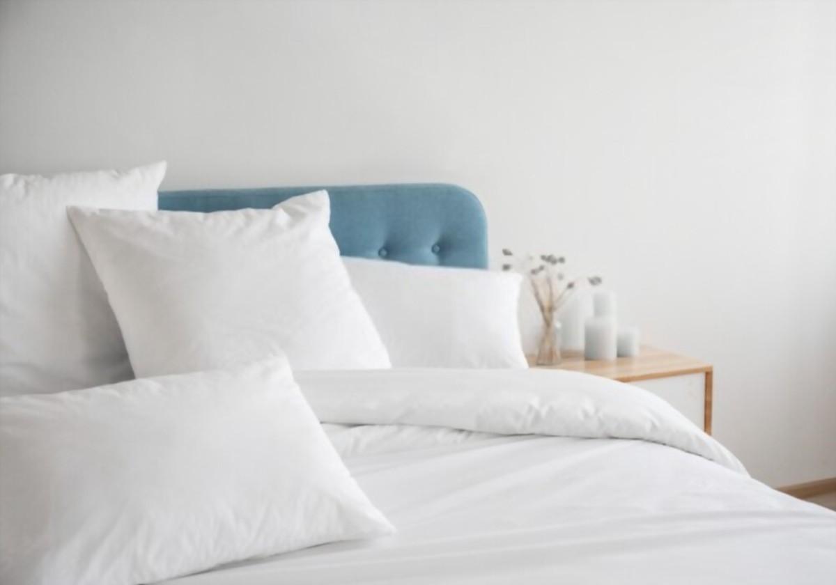 White pillows, duvet and duvet case on a blue bed.