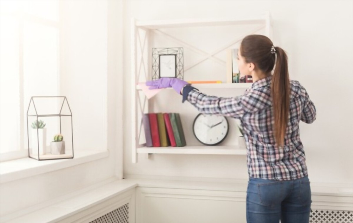 Woman cleaning dust from bookshelf