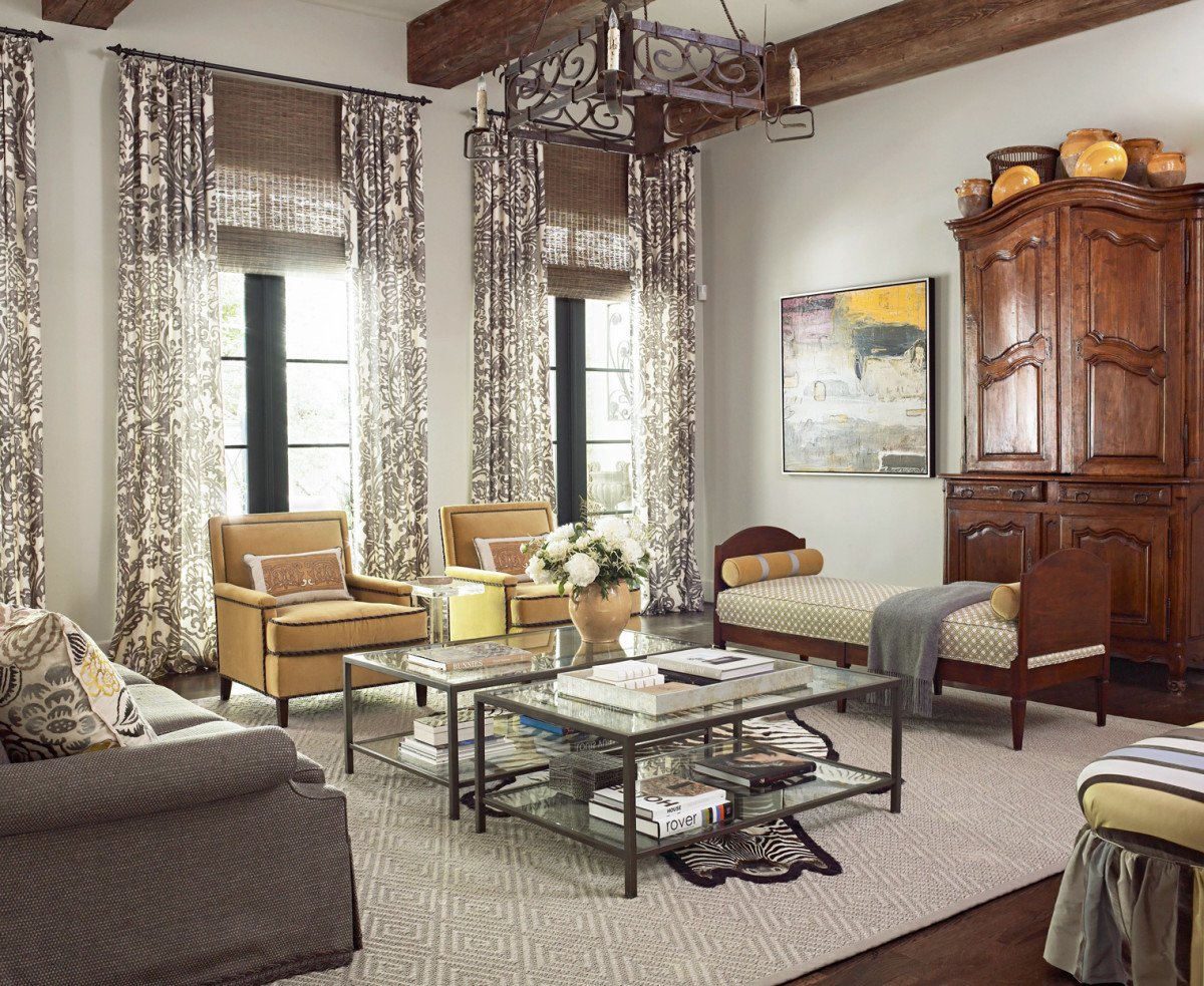 Yellow, brown, and gray make for a happy living room for the Chinese Zodiac Pig. The room should feel comfortable and inviting. Spice it up with silver and gold.