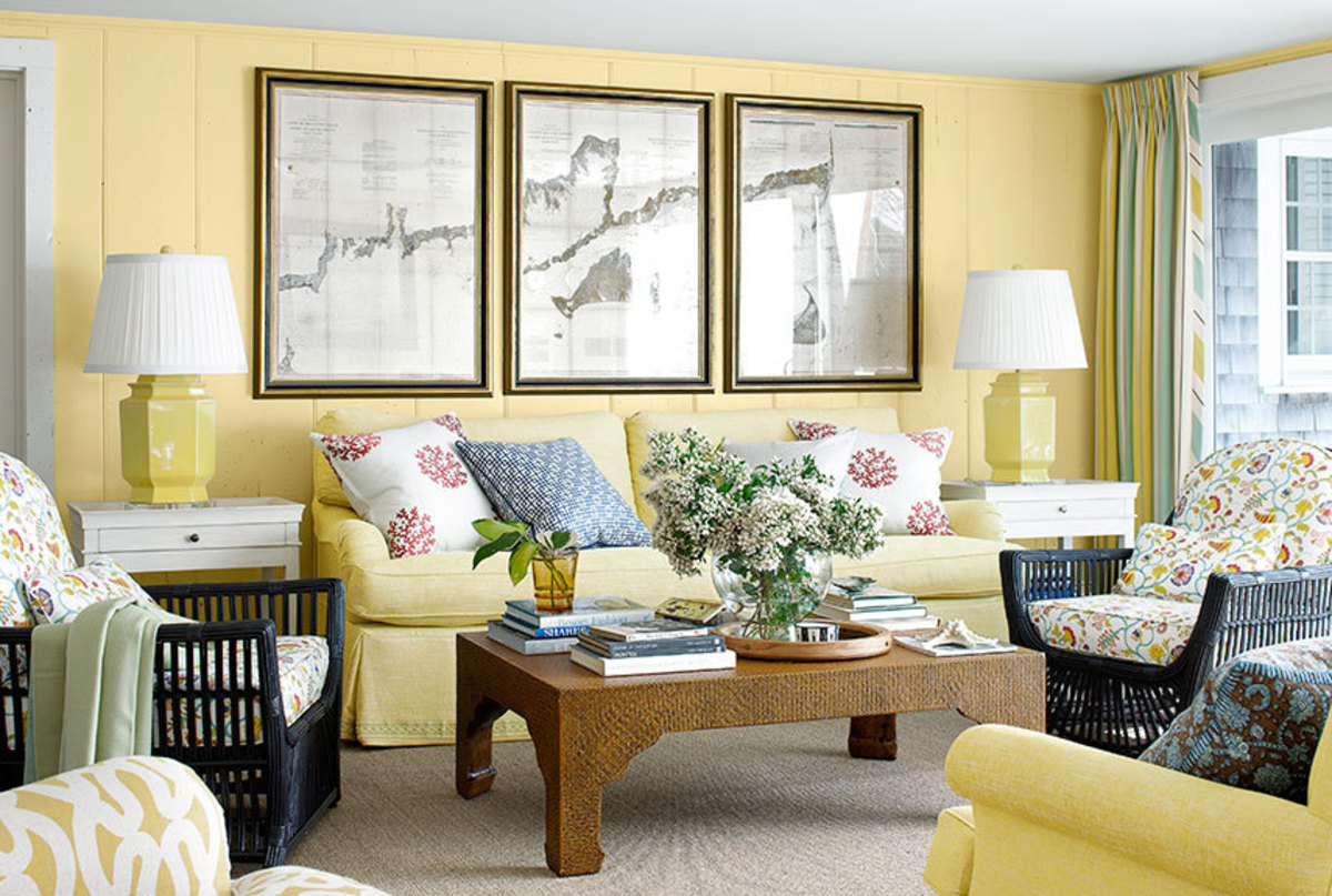 Yellow, brown, and gray make for a lovely living room for the Chinese Zodiac Pig. Those are its favorite colors! They also like lilies, black and white photography, and rounded objects.