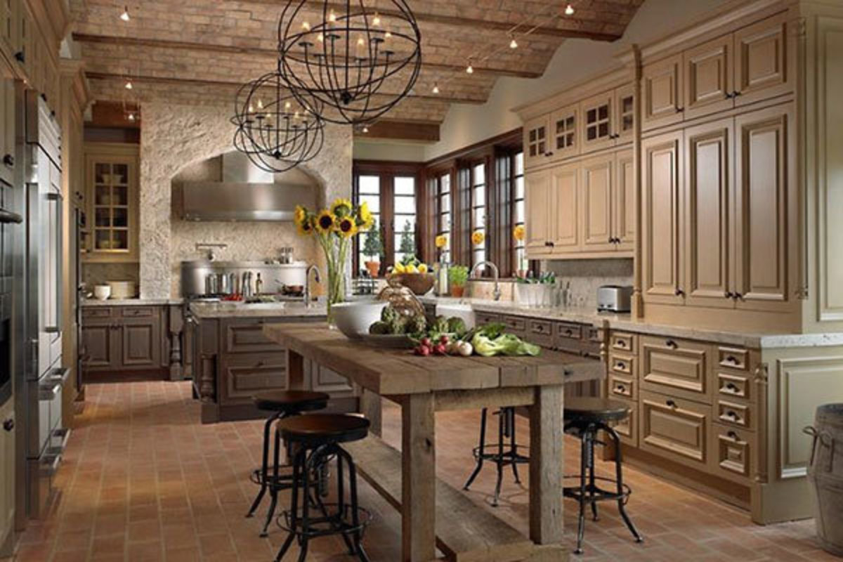 A country style kitchen would be appropriate for the Chinese Zodiac Pig. One of the animal's lucky colors is brown. They also like a mix of metal and wood.