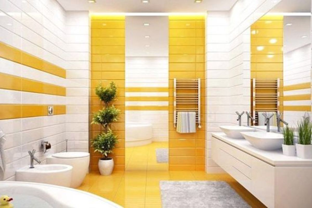 The Pig bathroom would look nice in hues of yellow. Add some plants. Look for opportunities to add wood and metal elements.