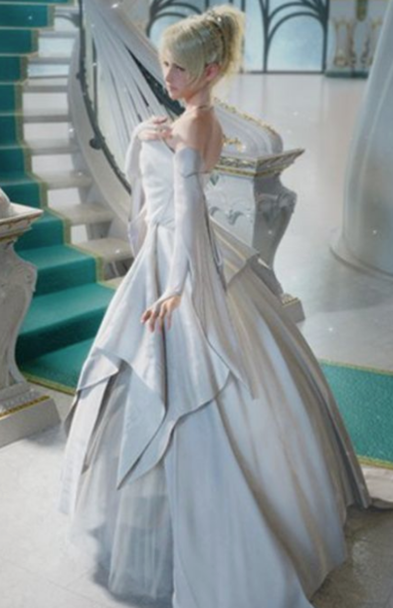 Lunafreya's wedding gown designed by Vivienne Westwood