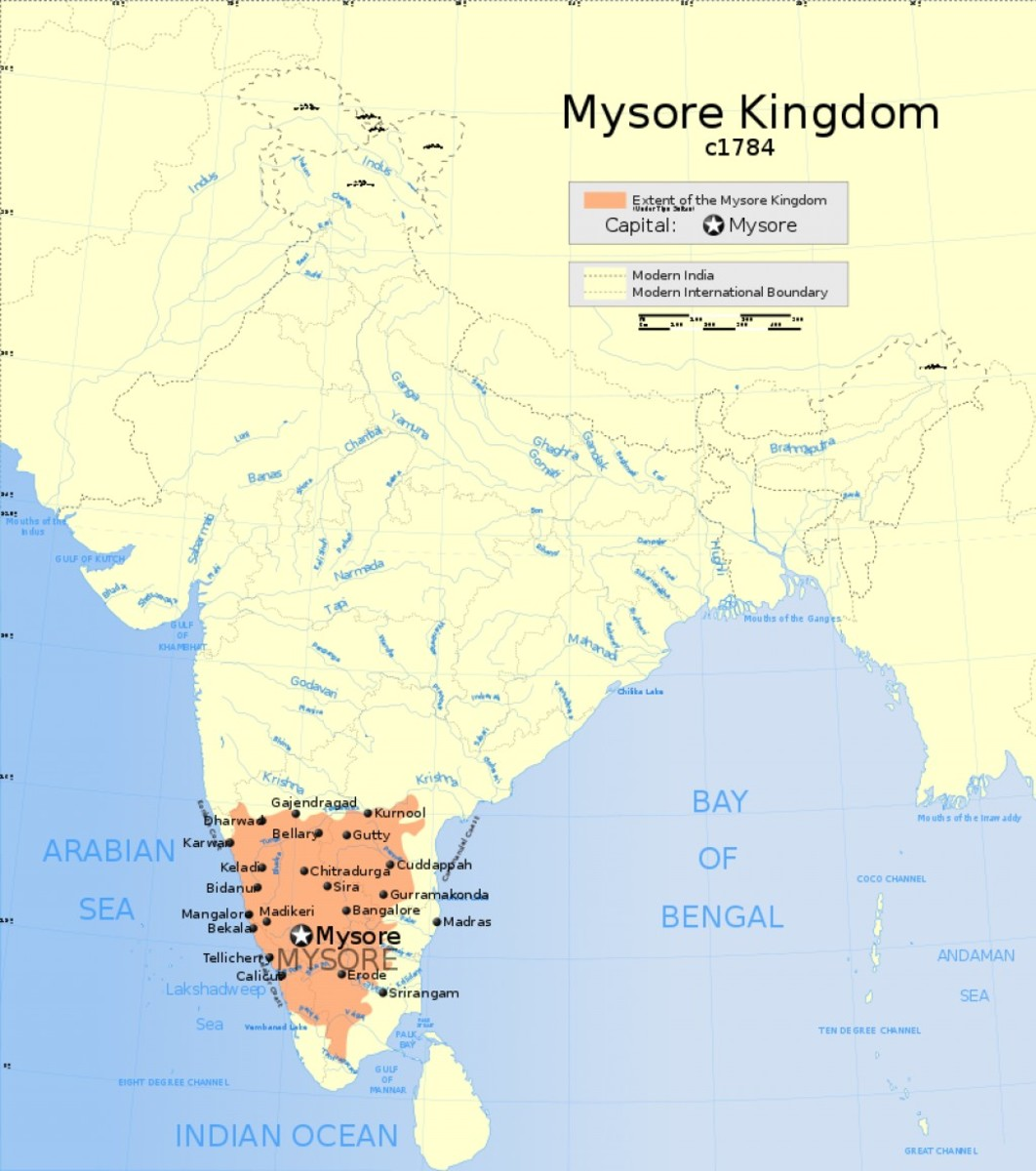 The Kingdom of Mysore at its greatest extent.