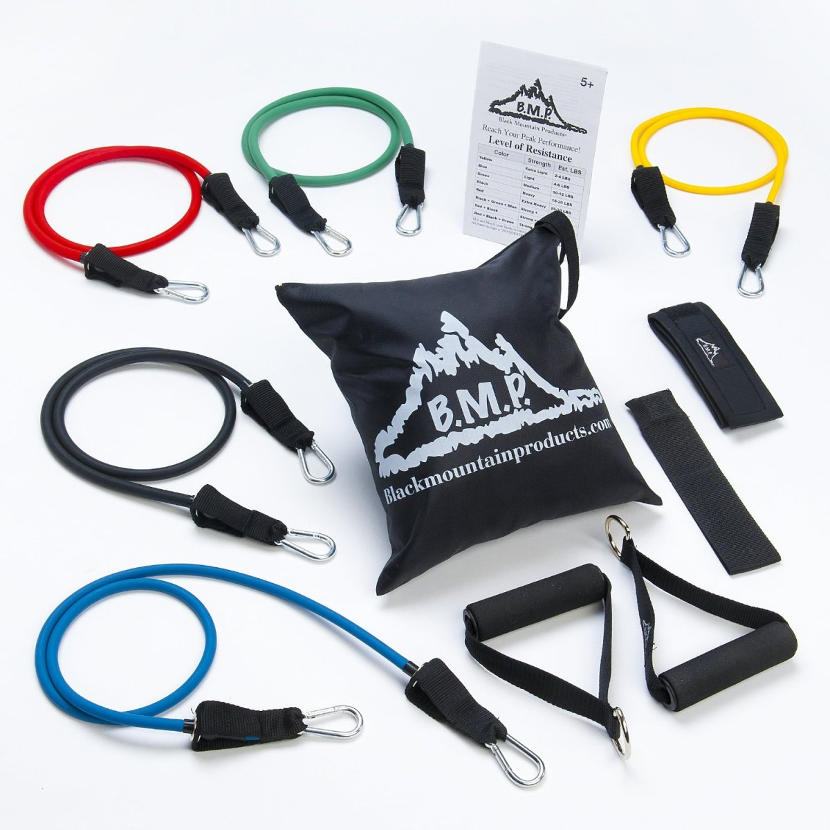 Any band can be used together to create multiple levels of resistance from 4lbs to 75lbs.  The metal clips on bands can attach to soft-grip handles or ankle straps. A door anchor, a carry bag and ankle straps are  included.