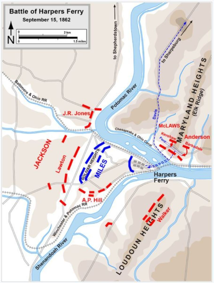 Figure 3.-- Battle of Harpers Ferry, Showing Walker's Division on Loudon Heights
