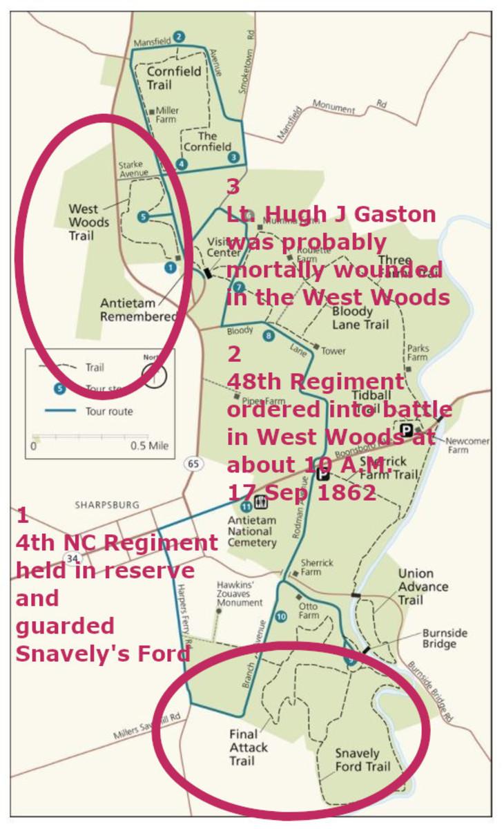 Figure 5.-- Antietam National Battlefield Trail Map , Showing Probable Locations of Lt. Hugh Jones Gaston, CSA, 48th NC Regiment on 17 September 1862.