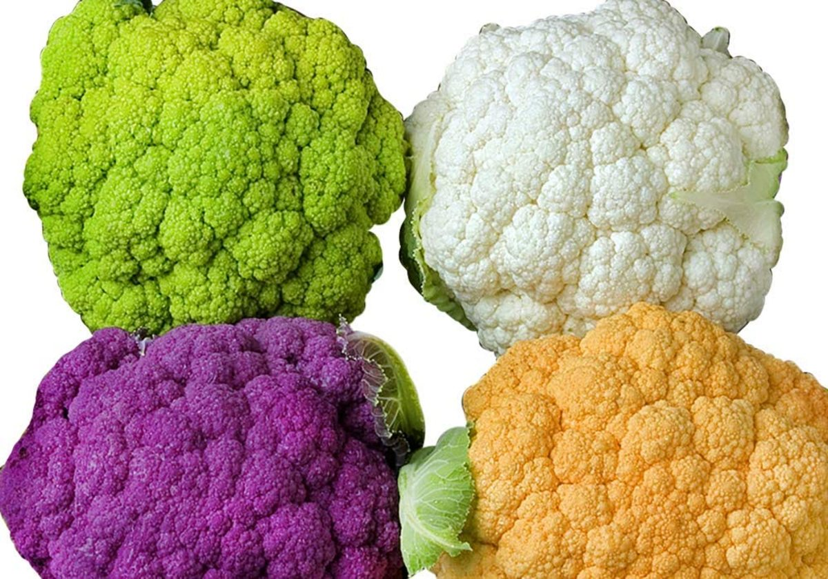 Four Colors of Cauliflower: White, Orange, Green, and Purple
